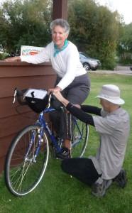Wayne checks Barbara's seat height - Diefenbaker Tour 2012